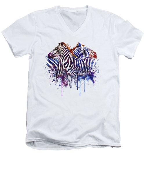 Zebras In Love Men's V-Neck T-Shirt by Marian Voicu
