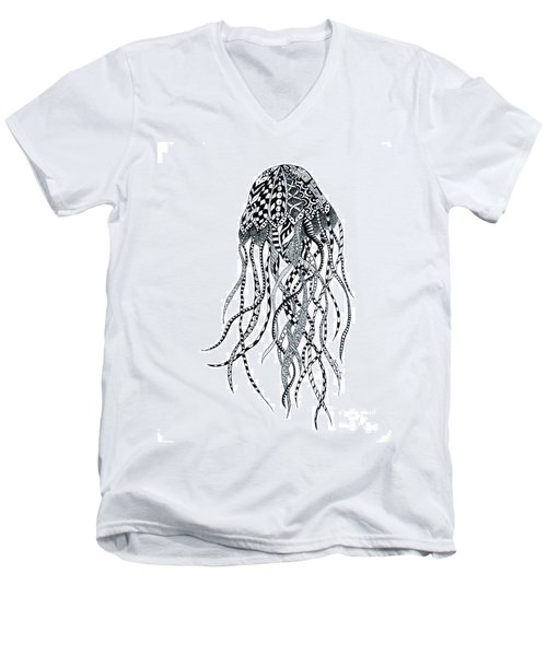 Zen Jellyfish Men's V-Neck T-Shirt by Tamyra Crossley