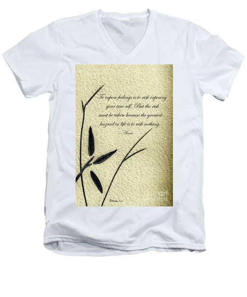 Men's V-Neck T-Shirt featuring the mixed media Zen Sumi 4m Antique Motivational Flower Ink On Watercolor Paper By Ricardos by Ricardos Creations