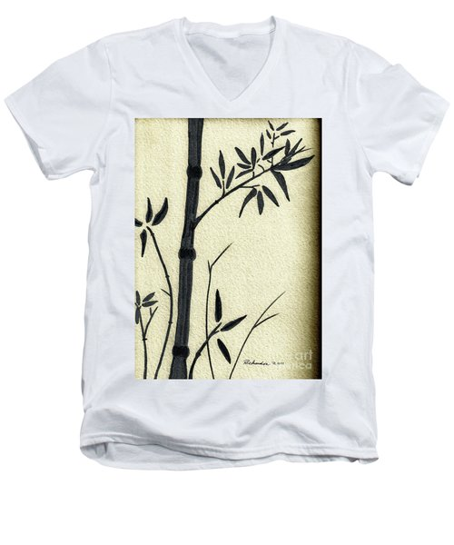 Men's V-Neck T-Shirt featuring the mixed media Zen Sumi Antique Bamboo 1a Black Ink On Fine Art Watercolor Paper By Ricardos by Ricardos Creations