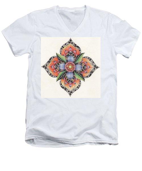 Zendala Template #1 Men's V-Neck T-Shirt by Jan Steinle