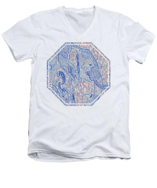 Zentangle Elephant-oil Men's V-Neck T-Shirt by Becky Herrera