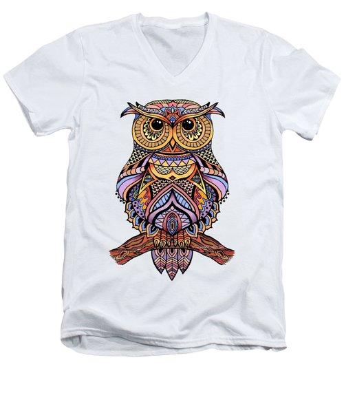 Zentangle Owl Men's V-Neck T-Shirt by Suzanne Schaefer