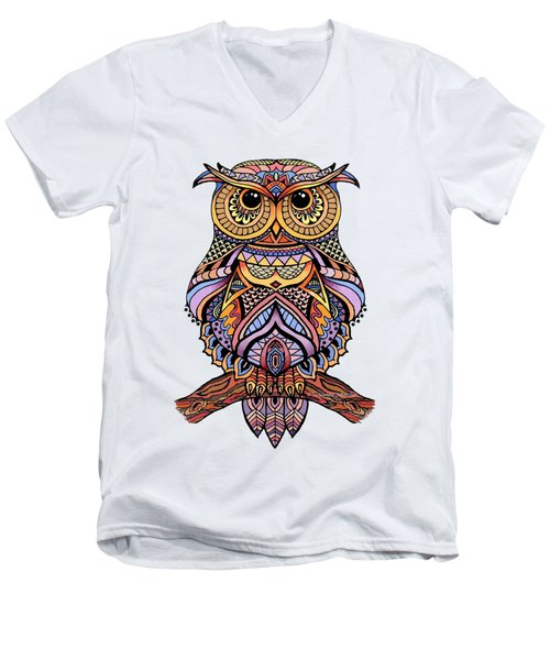 Zentangle Owl Men's V-Neck T-Shirt