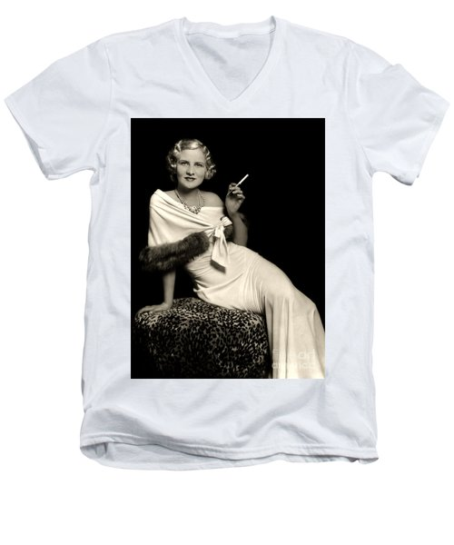 Ziegfeld Model Reclining In Evening Dress  Holding Cigarette By Alfred Cheney Johnston Men's V-Neck T-Shirt