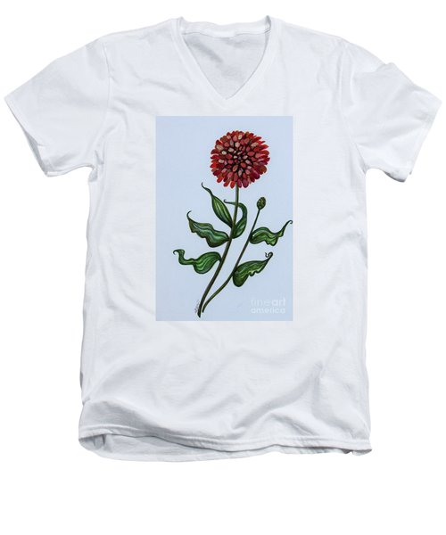Men's V-Neck T-Shirt featuring the painting Zinnia Botanical by Elizabeth Robinette Tyndall