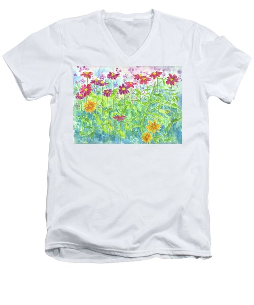 Men's V-Neck T-Shirt featuring the painting Zinnias  by Cathie Richardson