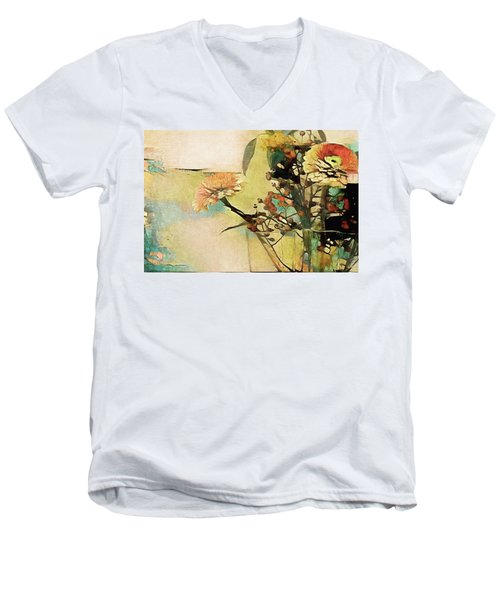Zinnias From The Garden Men's V-Neck T-Shirt