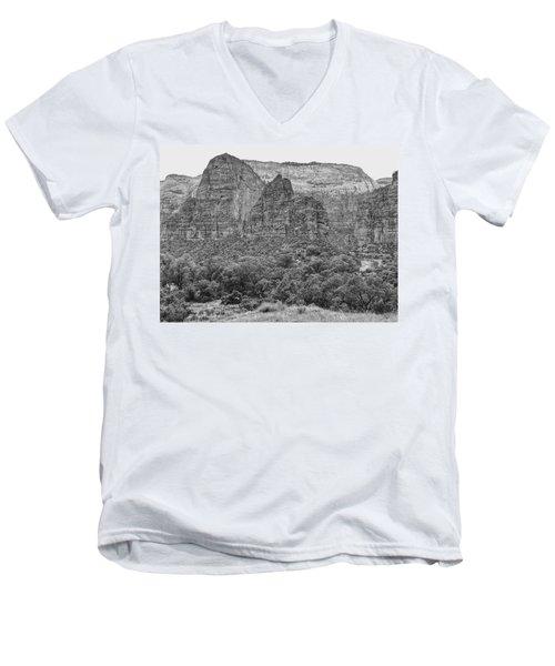 Zion Canyon Monochrome Men's V-Neck T-Shirt
