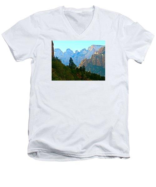 Zion's Hint Of Blue Men's V-Neck T-Shirt