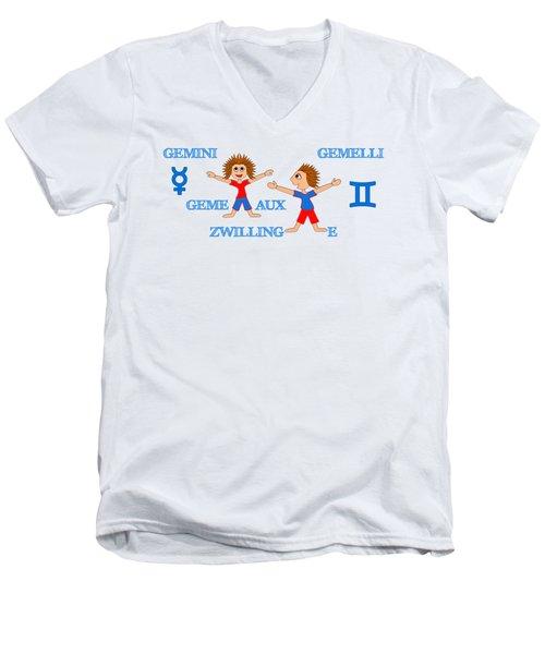 Zodiac Sign Gemini Men's V-Neck T-Shirt