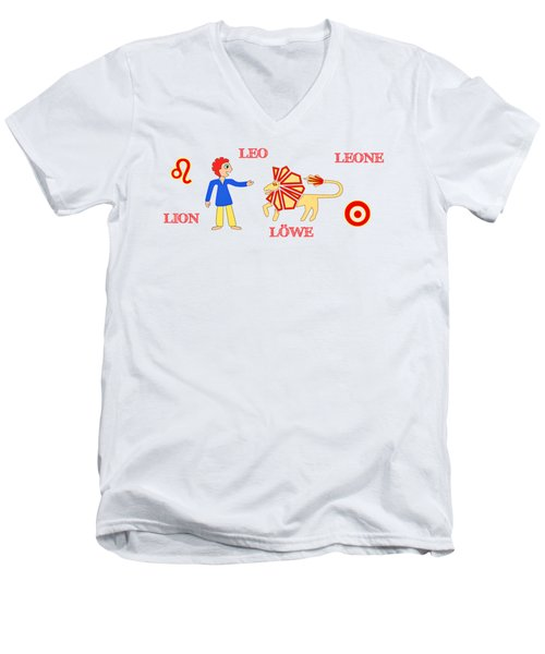 Zodiac Sign Leo Men's V-Neck T-Shirt