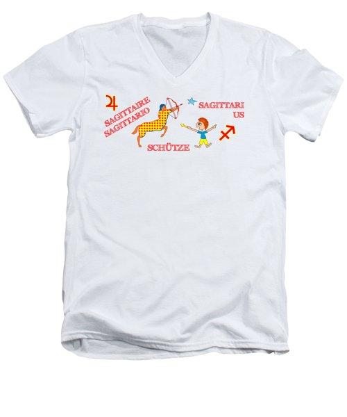 Zodiac Sign Sagittarius Men's V-Neck T-Shirt by Gabriele Pomykaj