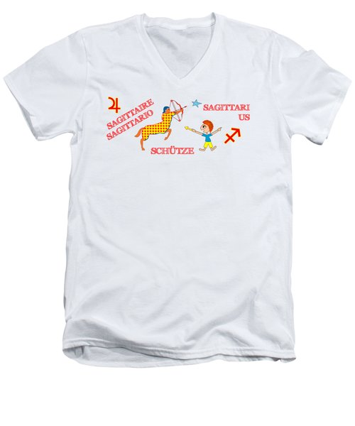 Zodiac Sign Sagittarius Men's V-Neck T-Shirt