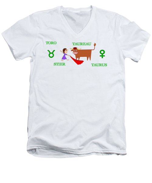 Zodiac Sign Taurus Men's V-Neck T-Shirt