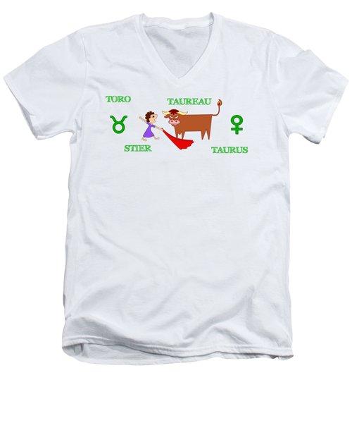 Zodiac Sign Taurus Men's V-Neck T-Shirt