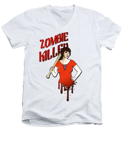Zombie Killer Men's V-Neck T-Shirt by Nicklas Gustafsson