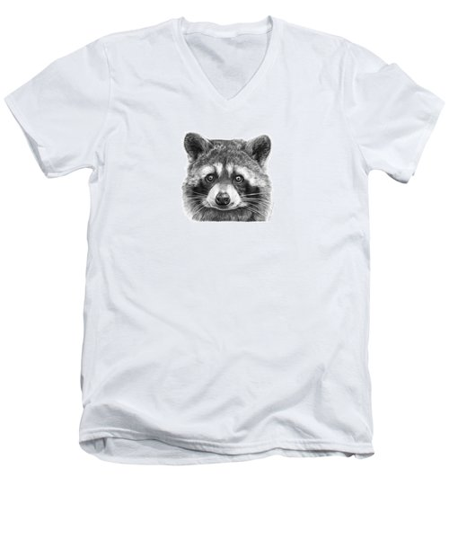 Men's V-Neck T-Shirt featuring the drawing 046 Zorro The Raccoon by Abbey Noelle