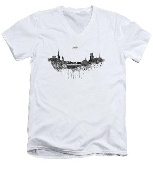 Zurich Black And White Skyline Men's V-Neck T-Shirt by Marian Voicu