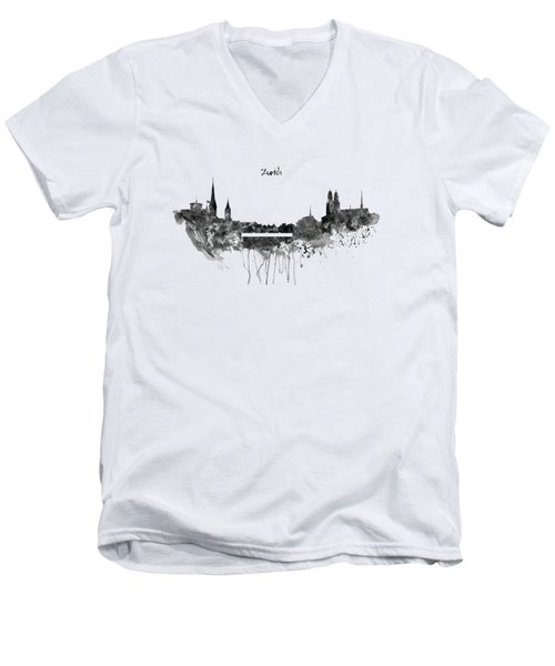 Zurich Black And White Skyline Men's V-Neck T-Shirt