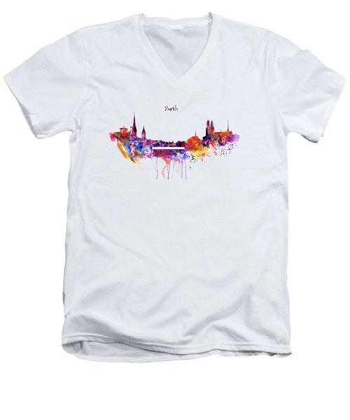 Zurich Skyline Men's V-Neck T-Shirt