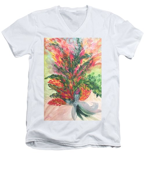 Bouquet And Ribbon Men's V-Neck T-Shirt
