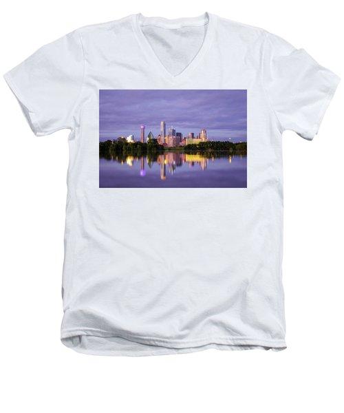 Dallas Texas Cityscape Reflection Men's V-Neck T-Shirt