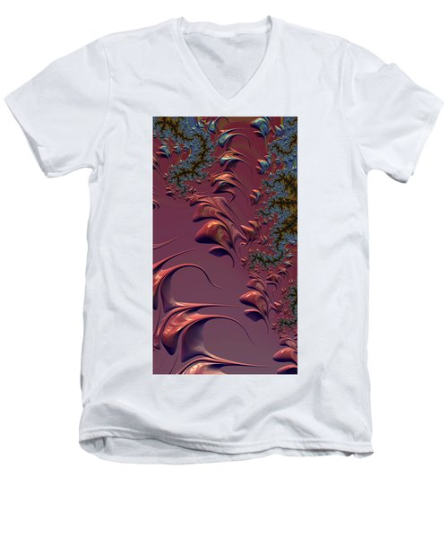 Fractal Playground In Pink Men's V-Neck T-Shirt