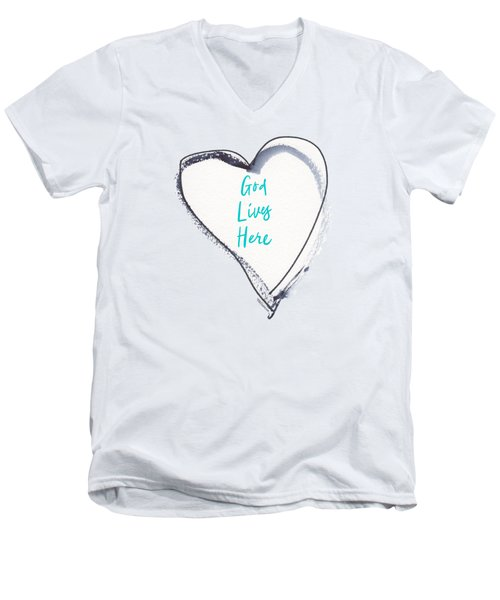 God Lives Here Men's V-Neck T-Shirt