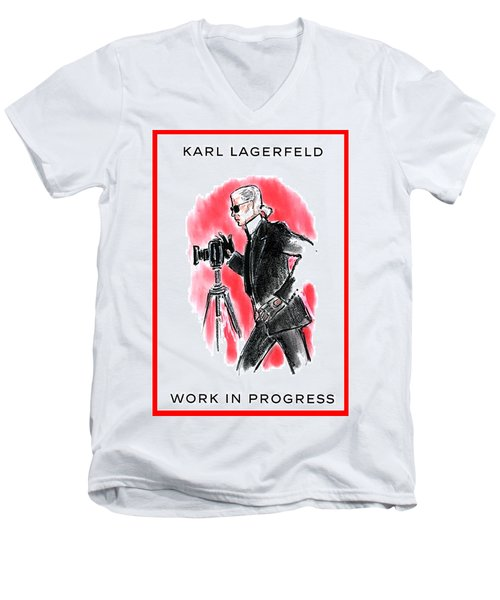 721a7ffeb Men's V-Neck T-Shirt featuring the digital art Karl Lagerfeld by Jane Foster