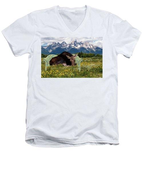 Nap Time In The Tetons Men's V-Neck T-Shirt