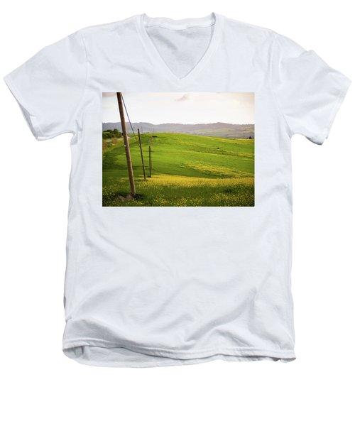 Tuscan Landscapes. Hills In The Spring Men's V-Neck T-Shirt
