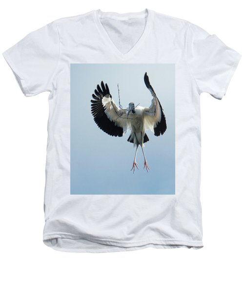 Woodstork Nesting Men's V-Neck T-Shirt