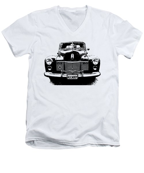 1941 Cadillac Front Blk Men's V-Neck T-Shirt