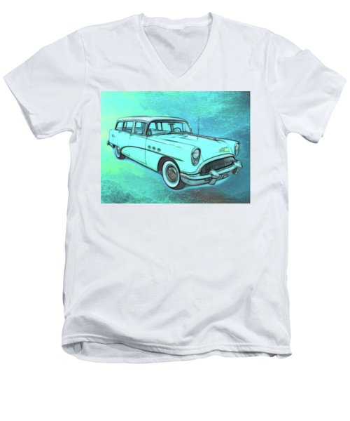 1954 Buick Wagon Men's V-Neck T-Shirt