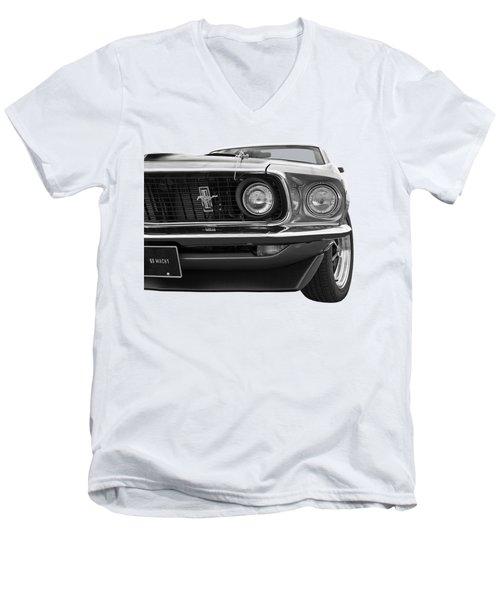 1969 Mustang Mach 1 Black And White Men's V-Neck T-Shirt