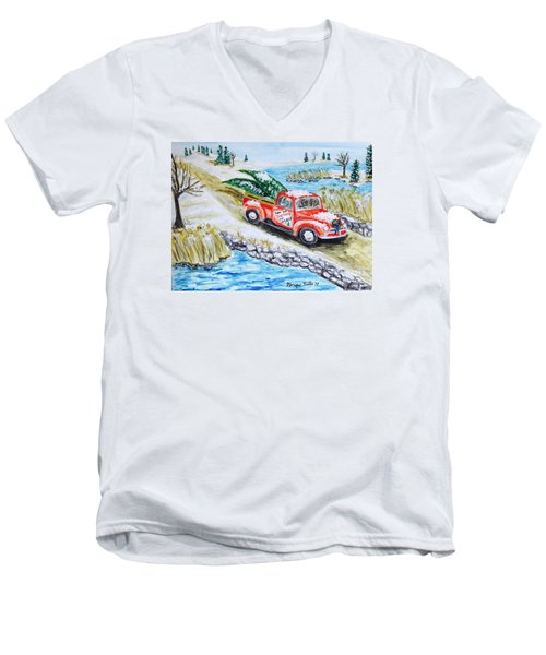 A Cape Cod Christmas Men's V-Neck T-Shirt
