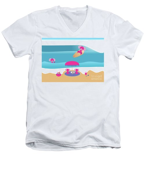 A Dog Family Surf Day Out Men's V-Neck T-Shirt