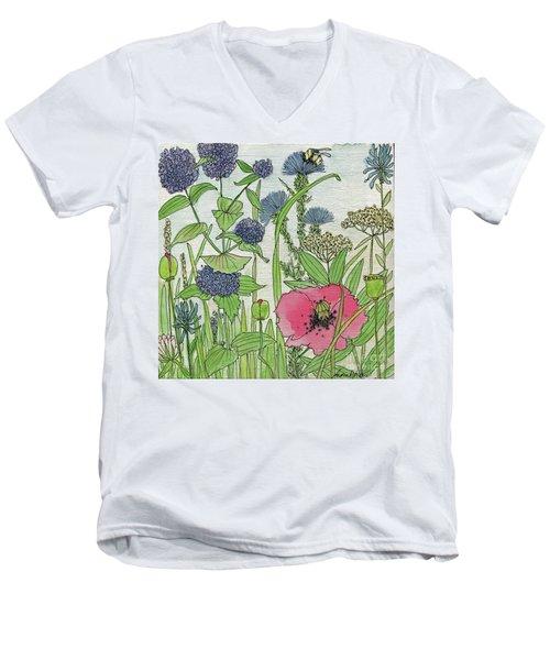 A Single Poppy Wildflowers Garden Flowers Men's V-Neck T-Shirt