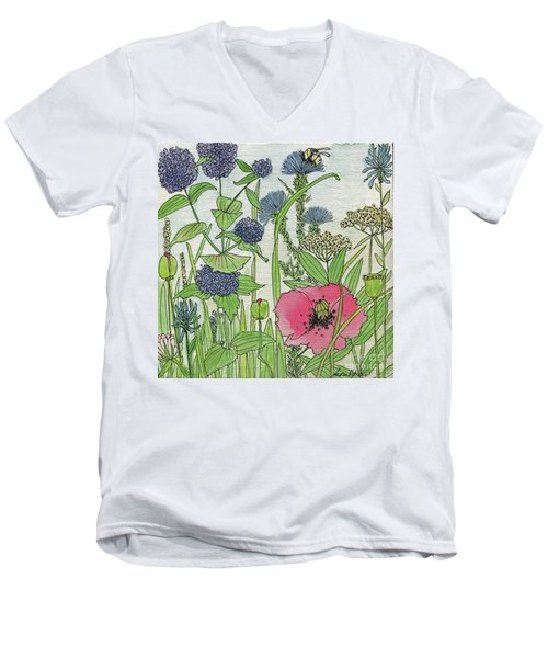 A Single Poppy Wildflowers Garden Flowers Men's V-Neck T-Shirt
