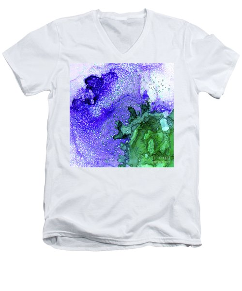 Men's V-Neck T-Shirt featuring the painting Abstract Ink 28 by Amy E Fraser