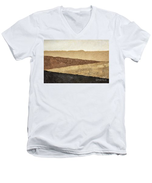 Abstract Landscape In Earth Tones Men's V-Neck T-Shirt