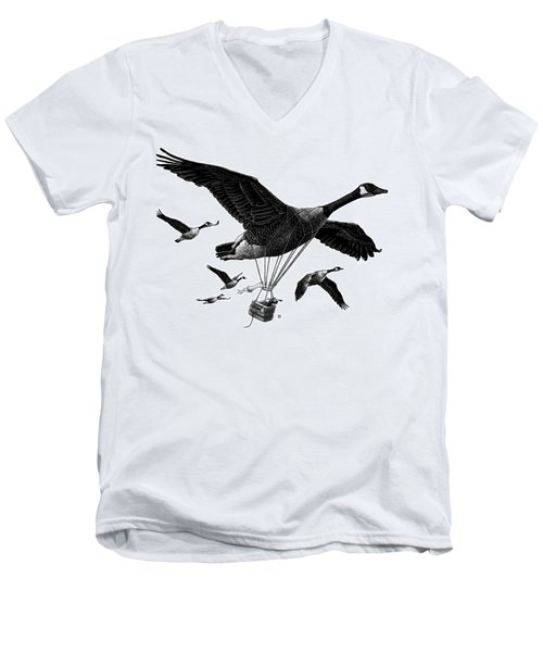 Aero Canada - Bw Men's V-Neck T-Shirt