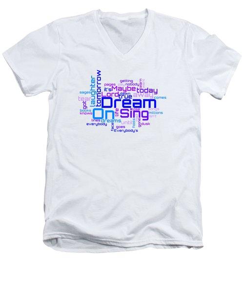 Aerosmith - Dream On Lyrical Cloud Men's V-Neck T-Shirt
