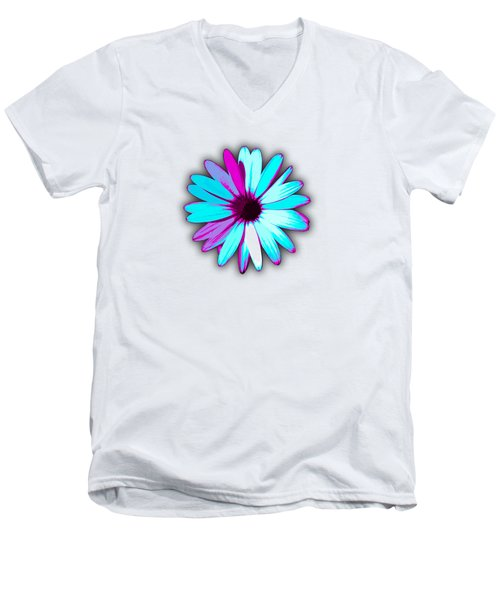 African Daisy Blue Purple And White Men's V-Neck T-Shirt