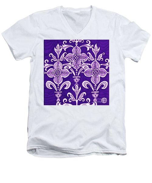 Men's V-Neck T-Shirt featuring the painting Alien Bloom 21 by Amy E Fraser