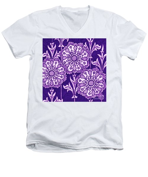 Men's V-Neck T-Shirt featuring the painting Alien Bloom 1 by Amy E Fraser