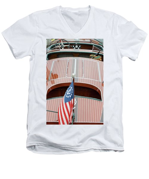 Antique Wooden Boat With Flag 1303 Men's V-Neck T-Shirt