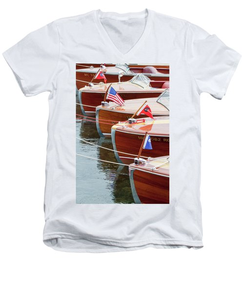 Antique Wooden Boats In A Row Portrait 1301 Men's V-Neck T-Shirt