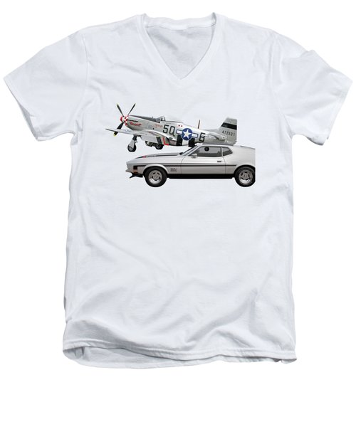Mach 1 Mustang With P51  Men's V-Neck T-Shirt